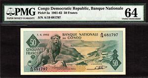 Congo 50 Francs 1962 Pick-5a Choice UNC PMG 64