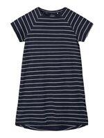 NAME IT kurzarm Jersey Kleid NKFVamaja dunkelblau gestreift Größe 128 bis 164
