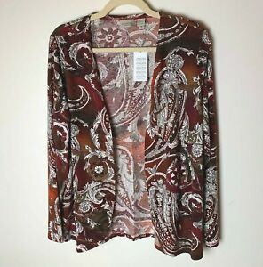 Chico's Easywear NEW Women's Open Cardigan Top Size 2 (Large,12) Paisley Brown