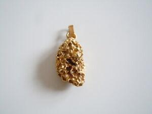 "Interessanter massiver goldfarbener ""Nugget"" Anhänger 13,0 g/3,5 x 1,5 x 1,2 cm"