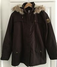 TRENDY Parka Marron Chocolat Capuche Bord Fourrure Little KARL MARC JOHN 14 Ans