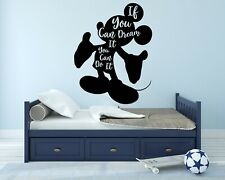 Mickey Mouse If You Can Dream Wall Decal Decor Kids Vinyl Bedroom Stickers J513