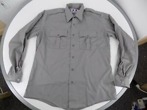 Flying Cross Mens Grey Long Sleeve Shirt 16 1/2 X 36/37 Uniform Duty Duro-Poplin
