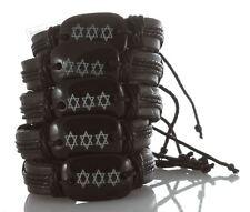 5 Black Jewish Magen Star of David Bangle Leather Bracelet Wristband God Sacred
