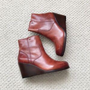 Frye Emma Wedge Boots, Cognac Color Leather, Women's 6.5 M