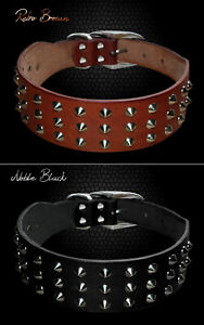 Cool Rivets Studded Leather Pet Dog Collar Brown Black XS S M L XL Pet Supplier