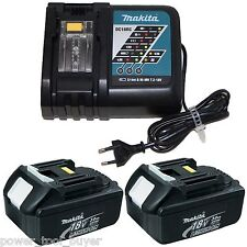 2 Makita BL1830 Cordless 18V LXT Li-Ion Battery Packs & 220/240V DC18RC Charger