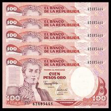 LOT 5 Colombia 100 Pesos, 1991, P-426e, UNC