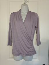 NWT~THE LIMITED~PURPLE LAVENDER 3/4 SLEEVE FAUX WRAP BUSINESS TOP~blouse~M~NEW