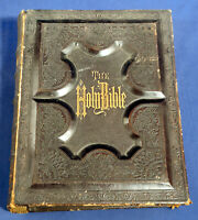 1870's-1880s Family Holy Bible Old + New Testaments Cruden's Concordance Leather
