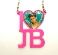 "I LOVE JUSTIN BIEBER HEART J B 18"" CHAIN NECKLACE & PENDANT VINTAGE PINK RETRO"