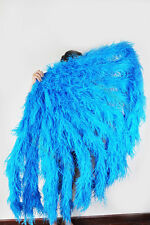 """Blue Waterfall fan Fluffy Ostrich Feathers boa Fan 42""""x 78"""" Burlesque"""