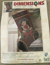 Dimensions Counted Cross Stitch Christmas Stocking Kit 8682 Gift Bearing Teddy