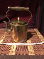 """Vintage Asian Brass Teapot w/ Wood Handle Floral Design 7 3/8""""x6 5/8"""""""