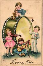 Kinder, musizierende Kinder, große Trommel, sign. Hannes Petersen, ca. 30er J.