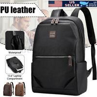 US 15.6'' Men Large Leather School Backpack Handbag Shoulder Bag Travel