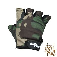 Enola Gaye Rip Stop & Leather Tactical Fingerless Gloves Airsoft Paintball Wood