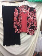 3 Pc. Set CHICO'S Women's Petite Size 0 Floral Blouse, Pink Top & Black Pants