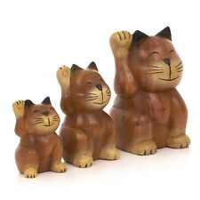 More details for hand carved wooden lucky waving cats - ca-630