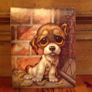 NOS Donald Art Co. NY Midcentury Litho Printing Cardboard 11x14 Big Eyed Dog