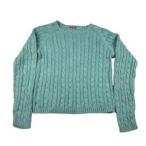 L.L. Bean Cableknit Jumper Womens XS Mint Green Knitted Pullover Sweater