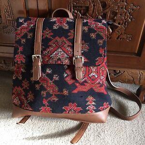 LAURA ASHLEY Gorgeous Tapestry Carpet Kilim Rucksack Backpack Handbag Bag