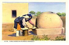 NM - PUEBLO WOMEN Baking Bread - Fred Harvey Circa 1940