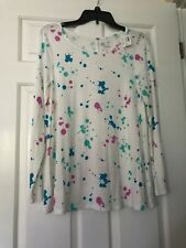NWT Girls Justice Size 18 White w/ Multi Color Long Sleeve Top