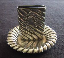Antique STERLING MATCH HOLDER w/ MATCH STRIKE - Ornate     (AA35)