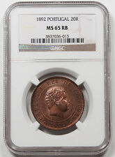 Portugal 1892 Carlos I 20 Reis Bronze Coin NGC MS65 RB KM# 533 GEM Finest POP1
