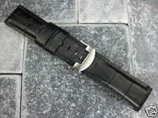 24mm XL Black Leather Strap & Deployment Buckle SET Extra Large Size PAM 1950