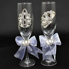 Wedding Glasses Bride & Groom Mr And Mrs Champagne Toasting Party flutes