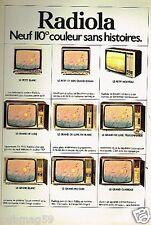 Publicité advertising 1975 Téléviseur Television Radiola 110°