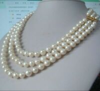 """triple strands 9-10mm natural south sea white pearl necklace 18-20"""" 14K gold"""