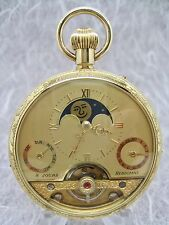 HEBDOMAS  CALENDAR MOON PHASE POCKET WATCH - NOS - A QUALITY TIMEPIECE