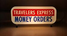 Travelers Express Money Orders Lighted Sign - Rare Vintage Immaculate Condition