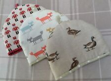 Fabric handmade fully lined and padded ducks retro fox soldiers tea cosy