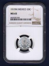 MEXICO ESTADOS UNIDOS 1919  20 CENTAVOS COIN CERTIFIED UNCIRCULATED NGC MS65
