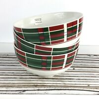 "3 Lenox VINTAGE PLAID Holiday Christmas 5.25"" Cereal Soup All-Purpose Bowls"