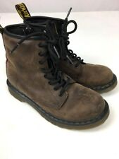 Dr. Martens Girl's Boots Air Wair Brown Leather Combat Zipper Side Sz 2 Delaney