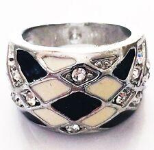 USA RING Rhinestone Crystal Fashion Gemstone Silver SIZE-7 WHITE BLACK C2