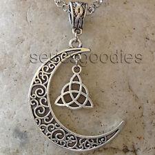 bijoux celtique ésotérisme voyance collier pendentif croissant de lune triquetra