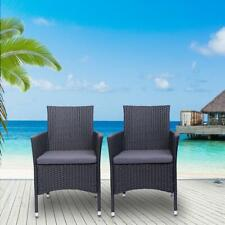 2PC Patio Rattan Wicker Chairs Sofa Set Patio Garden Furniture with Cushion Set