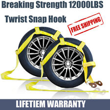 Car Tire Tow Dolly Straps Basket Strap w/ Snap Hook Heavy Duty Set of 2 Yellow