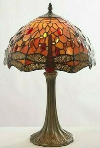 """Tiffany Dragonfly Table Lamp 12"""" Handcrafted Orange Red Floral Antique Base"""