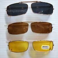 Clip on spring sunglasses men women fish drive gold frame blocking 100% uv