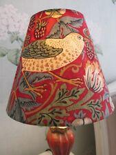 Handmade Coolie Lampshade William Morris Strawberry Thief Red Fabric 20cm