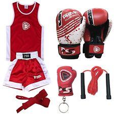 Kids Boxing 5 Pcs set boxing Uniform + Gloves + skipping rope + keychain + Wrap