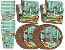 Woodland Animals Birthday Party Supplies Set Plates Napkins Cups Tableware Kit