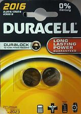 2 x Duracell CR2016 3v Lithium Coin Cell Button Battery 2016 DL2016 BR2016 New